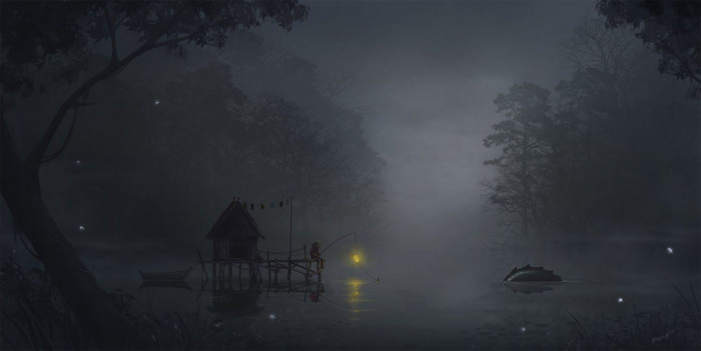 fog monster fishing lake forest anime light tree sandal wallpaper