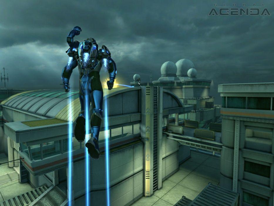 GLOBAL AGENDA sci-fi mmo rpg action fighting tps shooter 1global spy suit warrior wallpaper