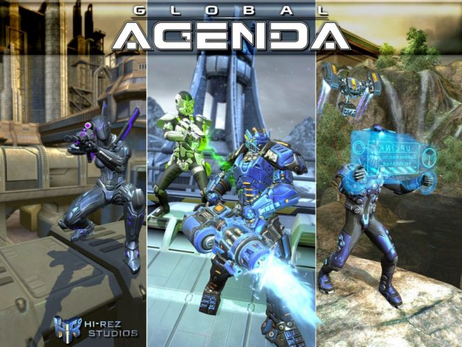 GLOBAL AGENDA sci-fi mmo rpg action fighting tps shooter 1global spy suit warrior wallpaper