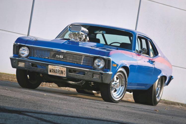 1971 Chevrolet Chevy Nova SS Pro Street Drag Racer Blue Hot USA 3300x2200-01 wallpaper