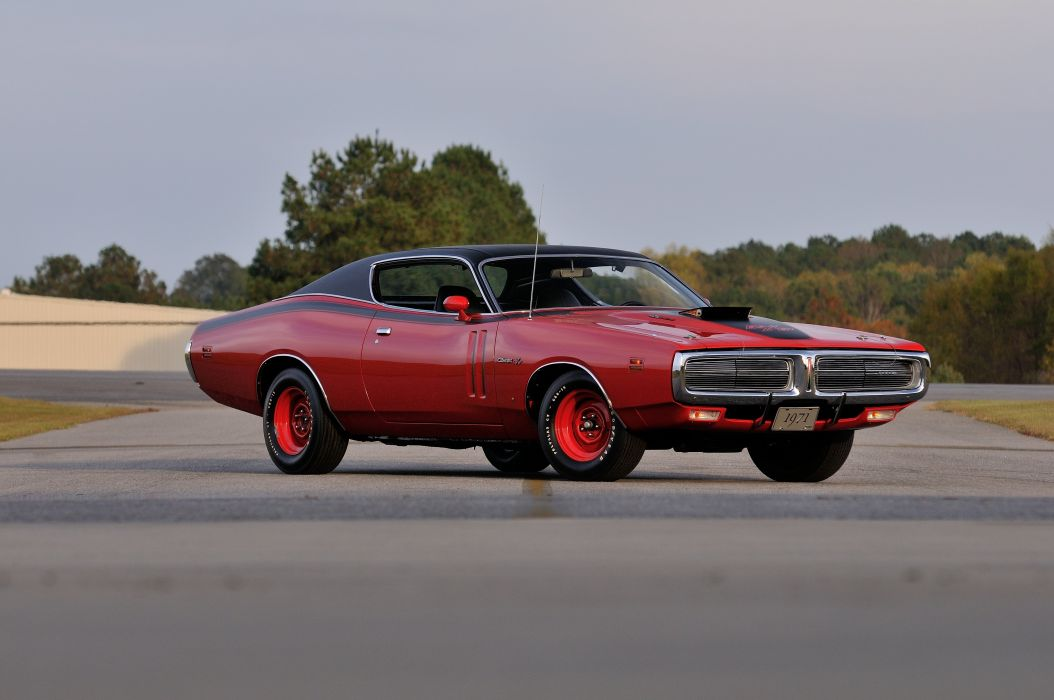 1971 Dodge Hemi Charger RT Pilot Car Red Muscle Classic Old USA 4288x2848-07 wallpaper