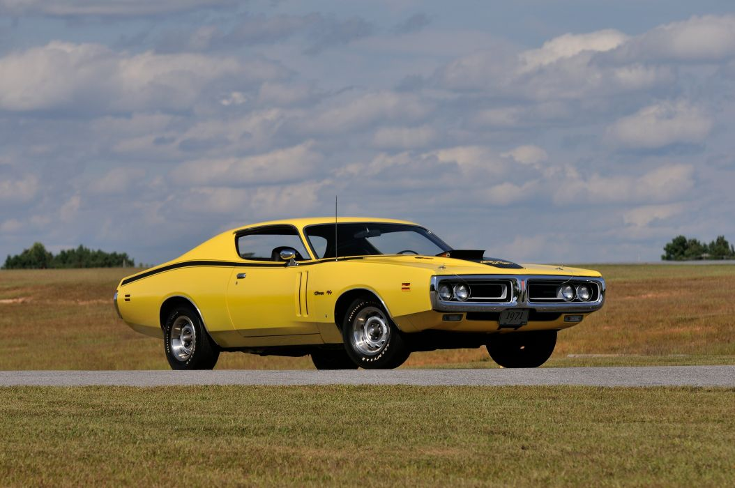 1971 Dodge Hemi Charger RT Yellow Muscle Classic Old USA 4288x2848-05 wallpaper