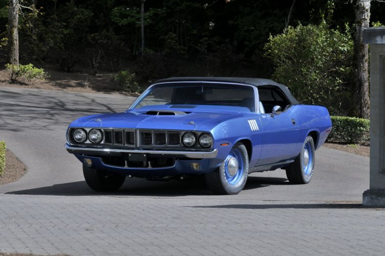 1971 Plymouth Hemi Cuda Convertible Muscle Classic Old Blue USA 4200x2790-01 wallpaper