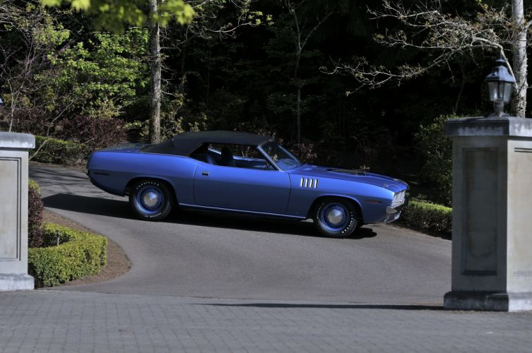 1971 Plymouth Hemi Cuda Convertible Muscle Classic Old Blue USA 4200x2790-02 wallpaper