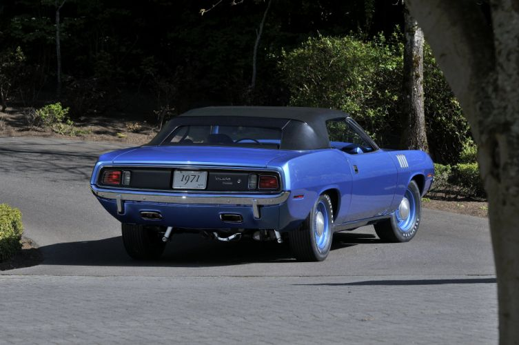 1971 Plymouth Hemi Cuda Convertible Muscle Classic Old Blue USA 4200x2790-05 wallpaper