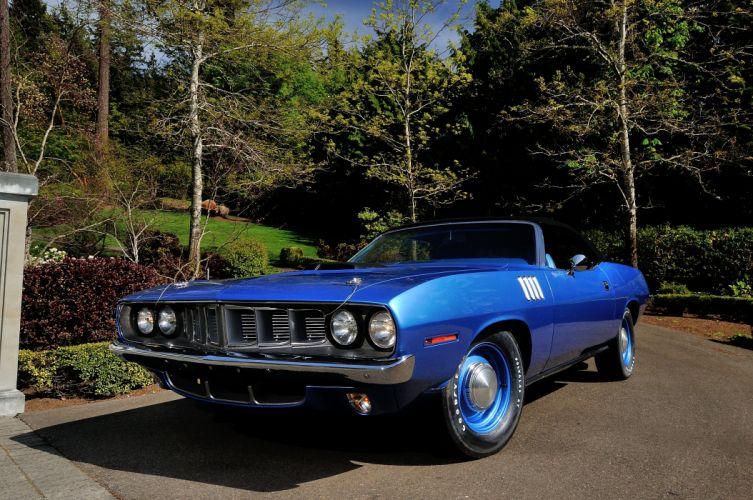 1971 Plymouth Hemi Cuda Convertible Muscle Classic Old Blue USA 4200x2790-07 wallpaper