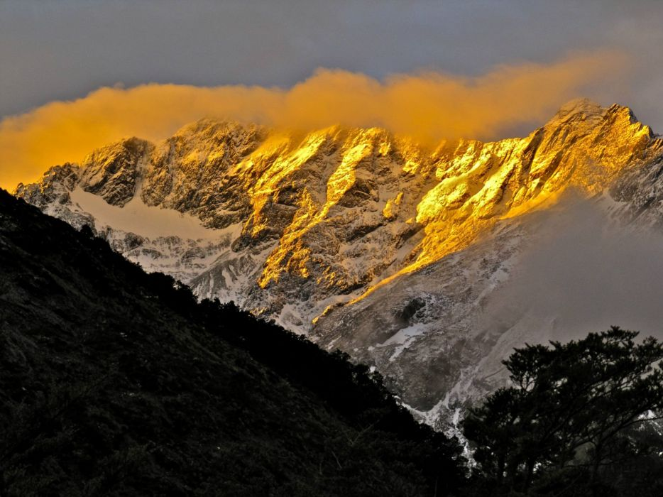 sunset mountain top New Zealand wallpaper