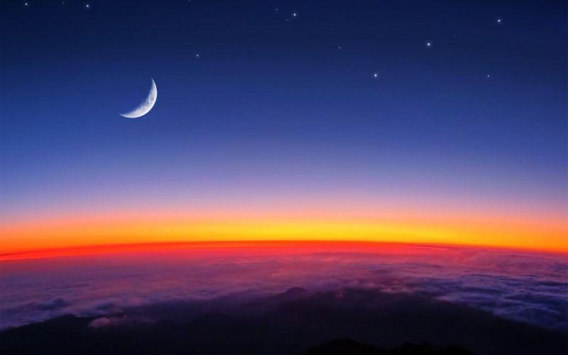 sunrise moon sky clouds landscapes nature earth orange stars morning daybreak wallpaper