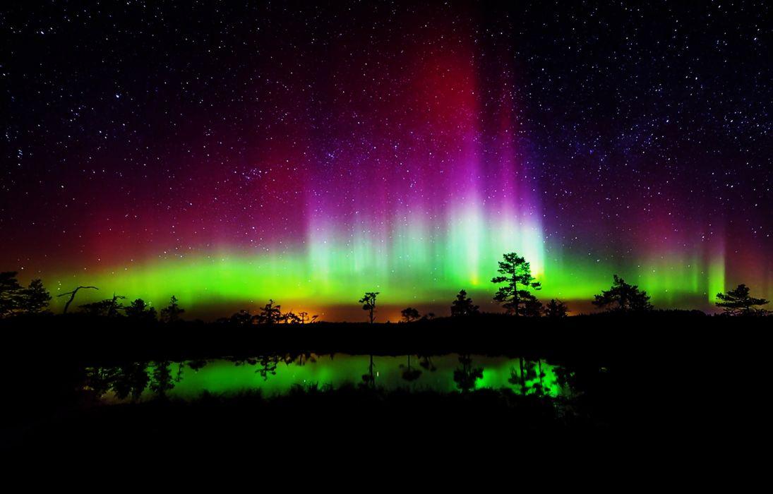 Aurora borealis night stars colurful trees lakes landscapes nature earth beauty wallpaper