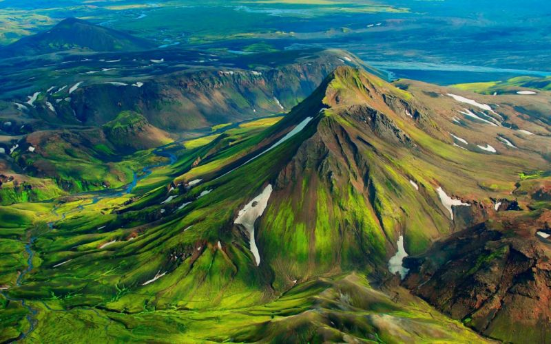 landscapes mountains green grass nature hills rivers snow spring wallpaper