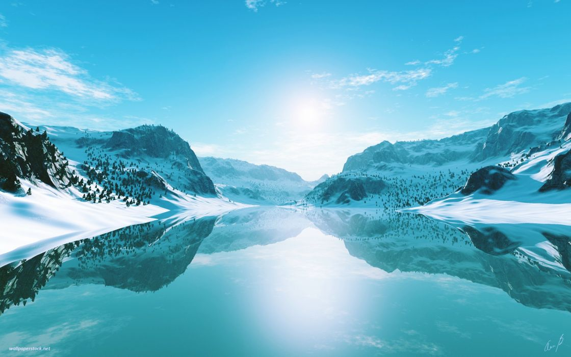 nature landscapes earth snow sky sunny clouds lakes cold winter wallpaper
