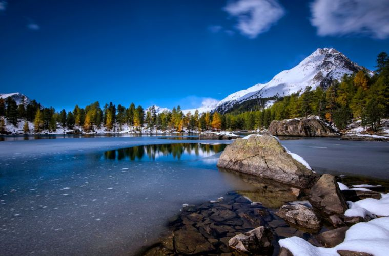 snow lakes rocks stones trees forest mountains landscapes earth nature ice water wallpaper