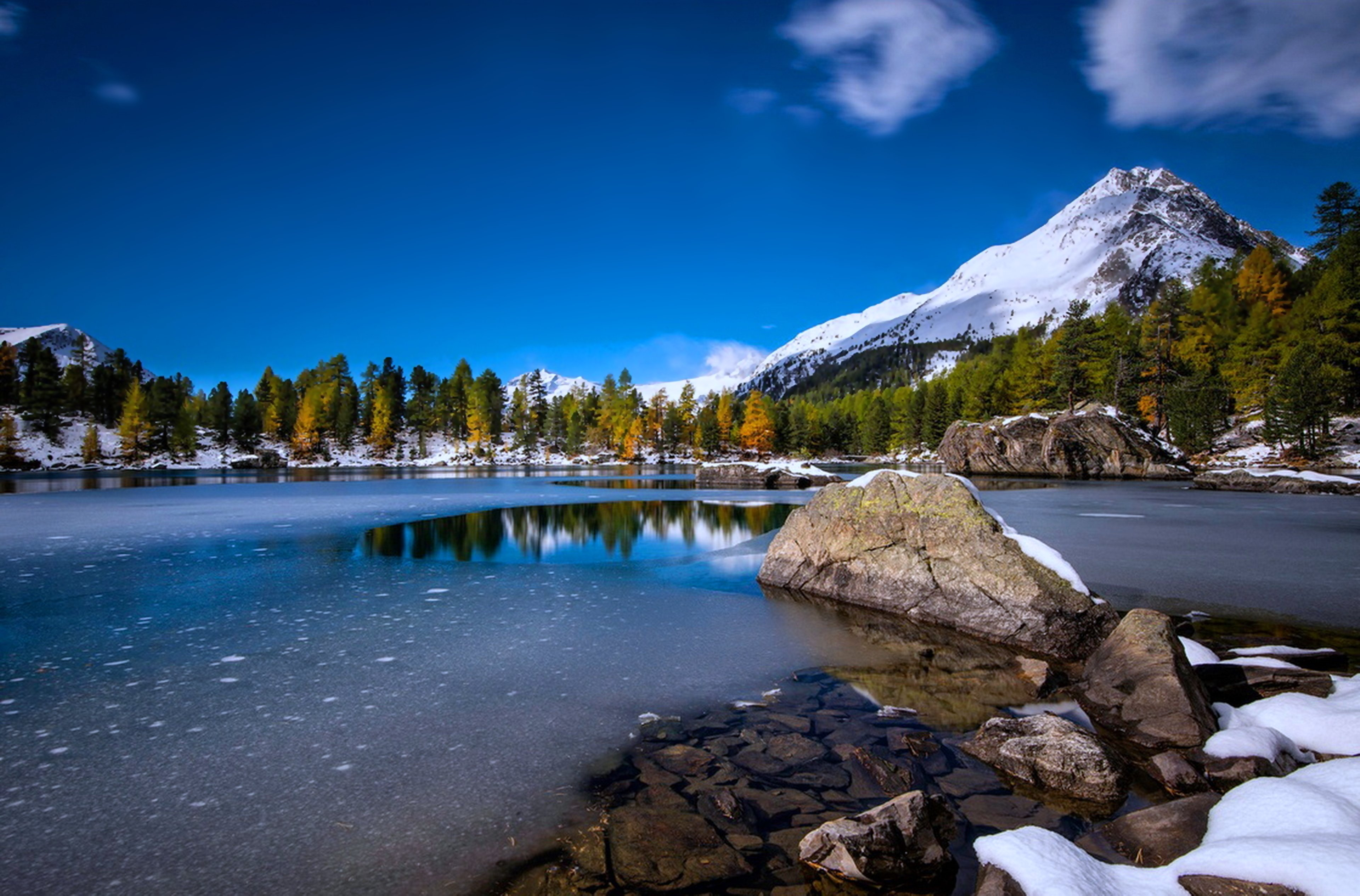 Snow Lakes Rocks Stones Trees Forest Mountains Landscapes