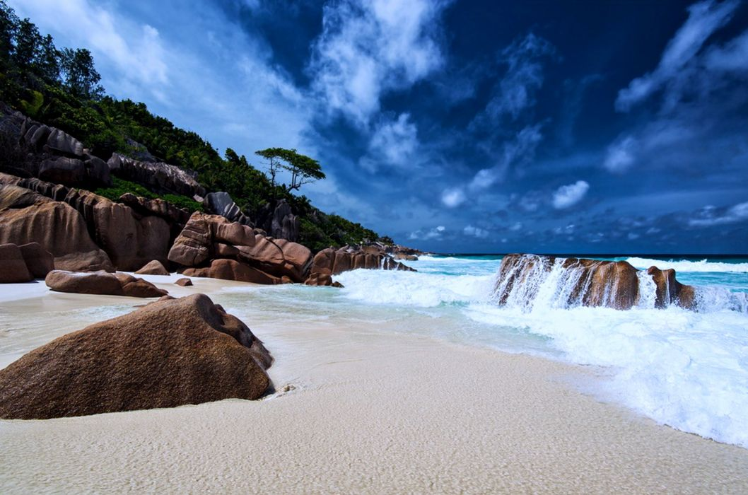 beaches sand sea rocks sky clouds landscapes nature summer earth hills trees wallpaper