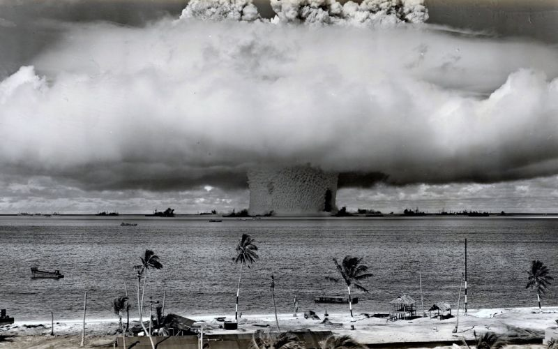 Nuclear explosion wars old sea beaches ocean Destruction smoke clouds big wallpaper