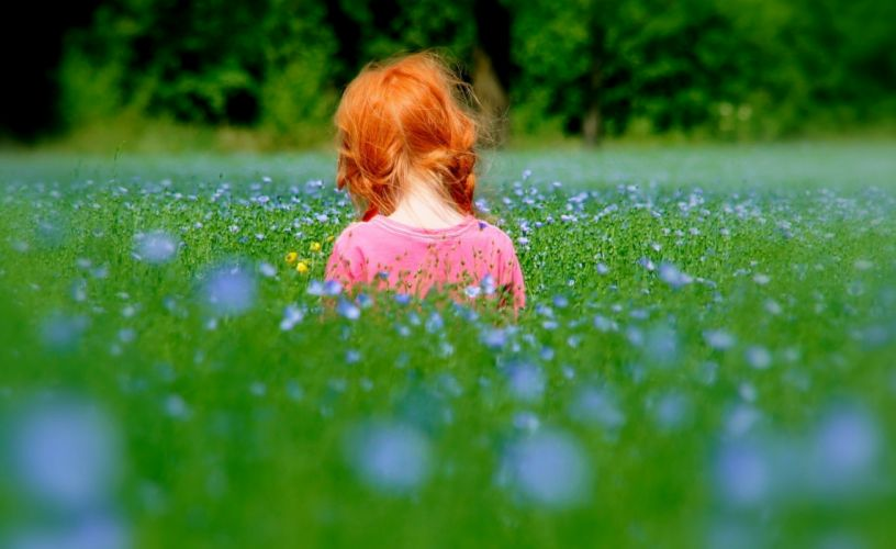 Baby Beautiful bed childhood children flowers kids life little girls spring grass plants landscapes nature earth spring wallpaper