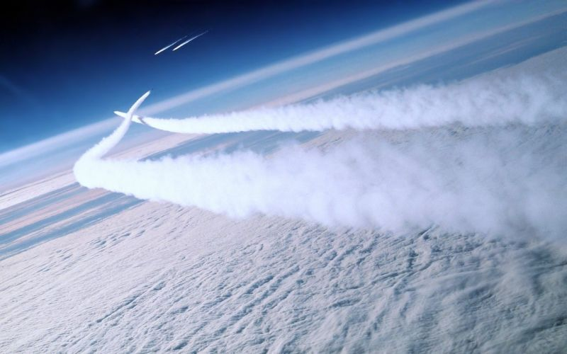 aircrafts attack bombing clouds Earth flights landscapes Military nature Review sky warplanes smoke wallpaper