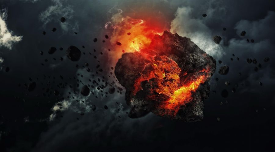 meteor space fire apocalyptic artwork sci-fi wallpaper