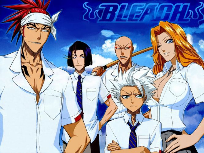 anime series bleach cool character girl guys sky clouds group wallpaper