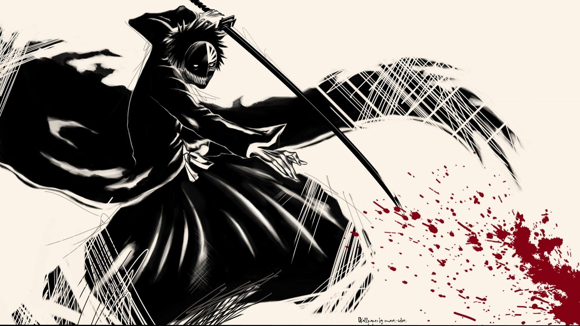 Anime Series Bleach Kurosaki Ichigo Cool Character Dark Blood Mask Wallpaper
