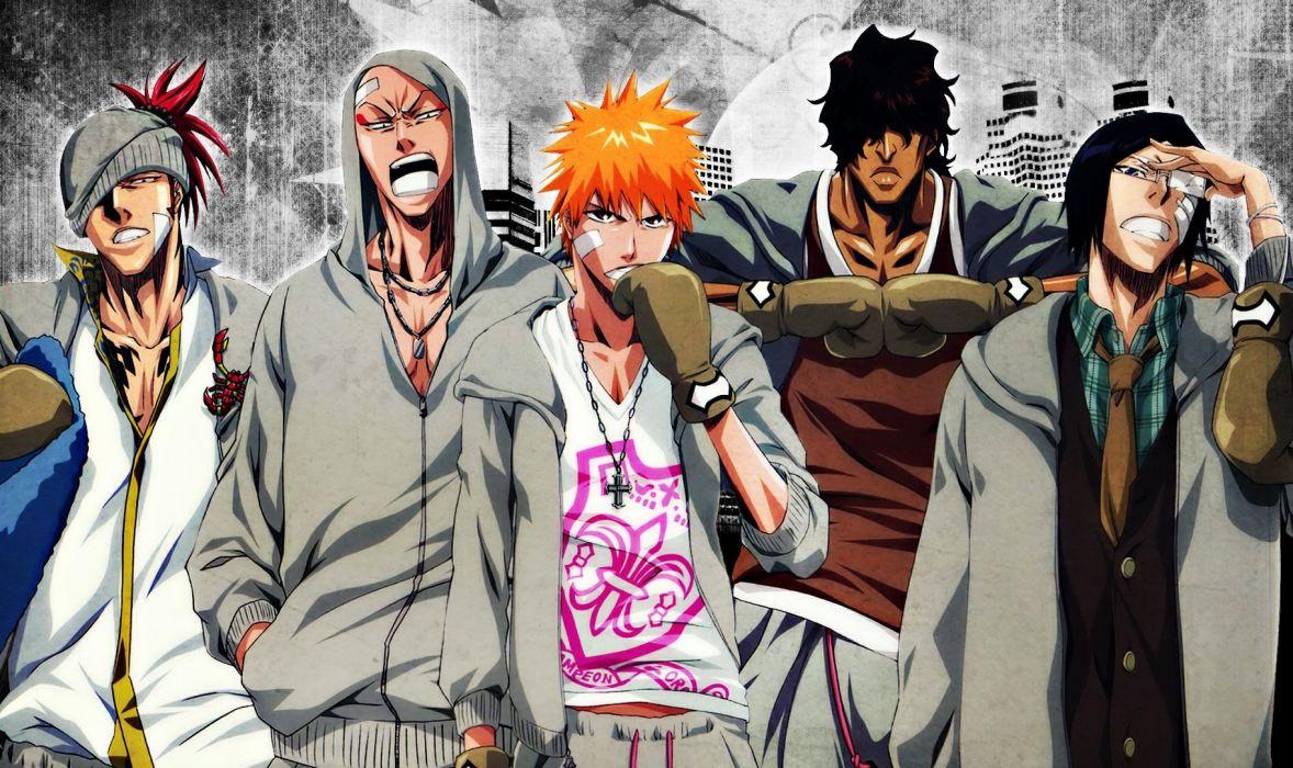 anime series bleach kurosaki ichigo cool characters orange hair guys group wallpaper