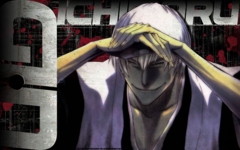 anime series bleach cool character white hair smile wallpaper