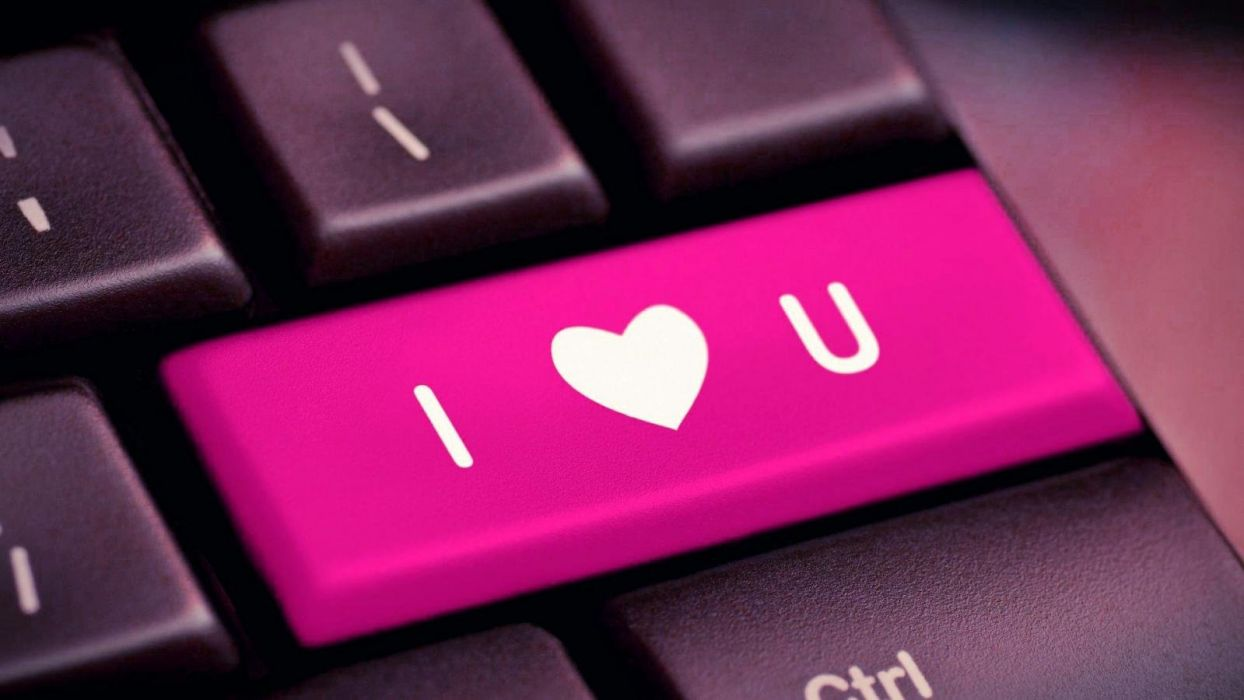 I love you pink computer keyboard wallpaper