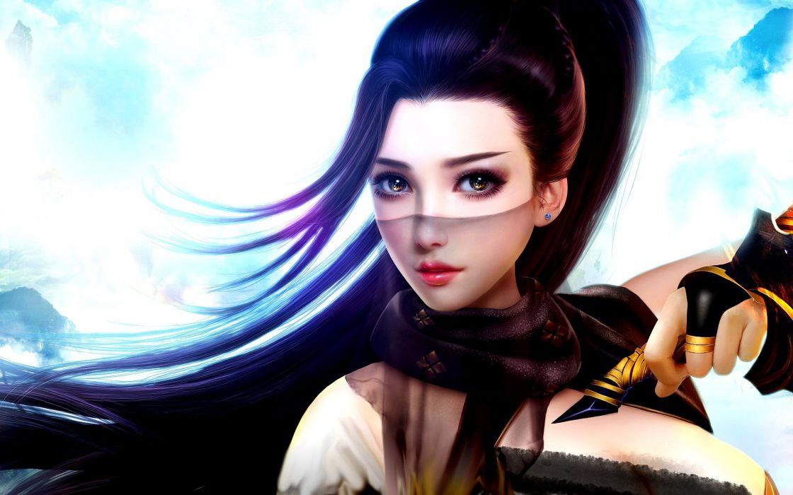 fantasy girl the veil long hair beautiful face brown eyes wallpaper