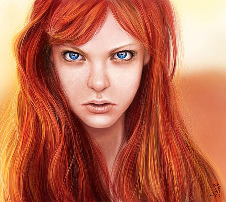 Fantasy Girl Orange Long Hair Beautiful Face Blue Eyes