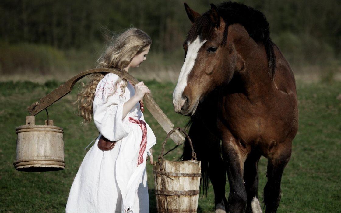 blonde girl horse beauty white dress grass nature wallpaper