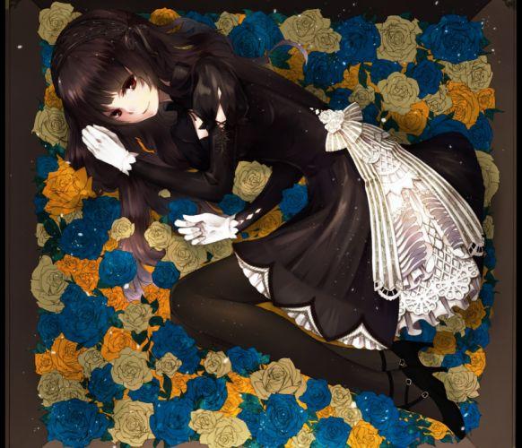 anime girl flower roses black dress smile wallpaper