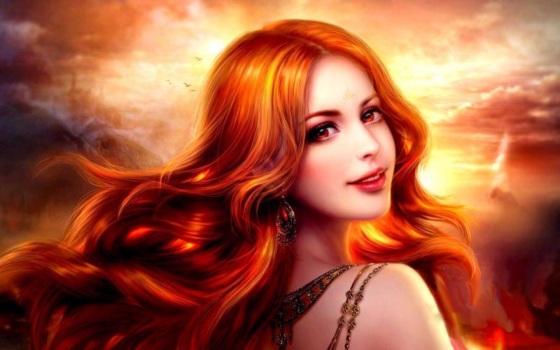 fantasy girl smile red hair face beautiful red eyes sky wallpaper