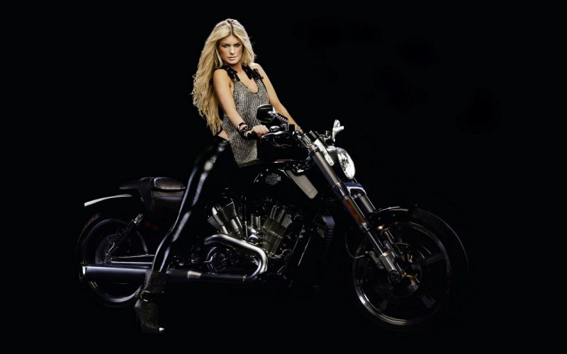 fashion blonde girl motorcycle hard black bacground wallpaper