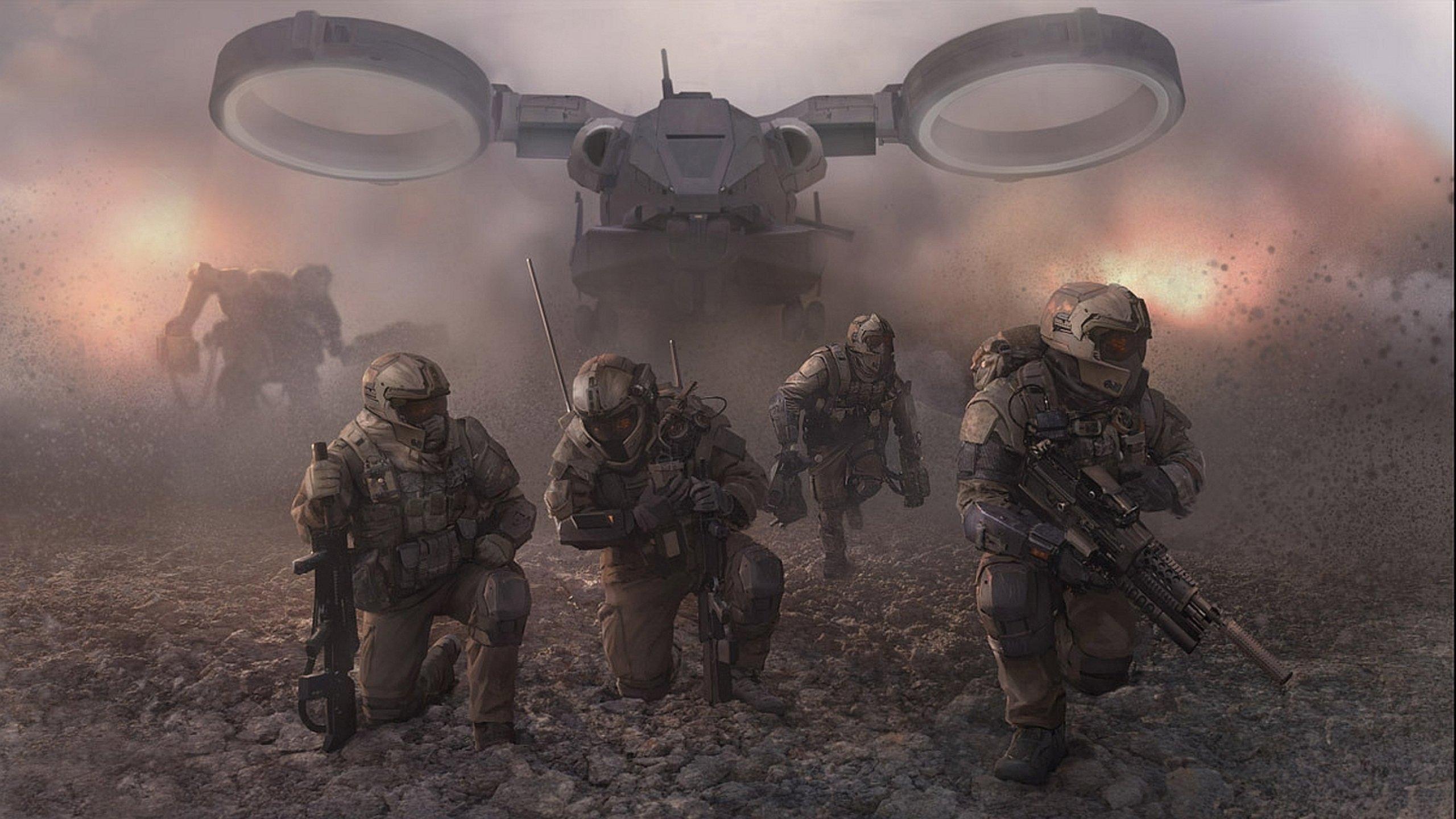 Sci Fi Wallpaper 2560x1440: Sci-fi Warrior Futuristic Art Artwork Wallpaper