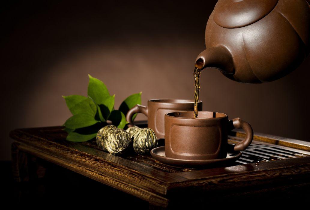 cups Delicious drinks energy glass healthy herbalism table tea utensils wallpaper