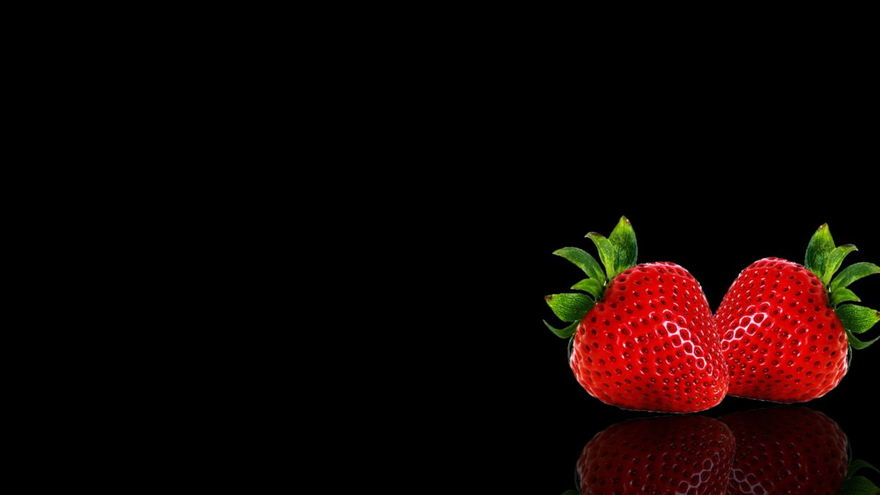 Apple background black fruits wallpapers Strawberry wallpaper