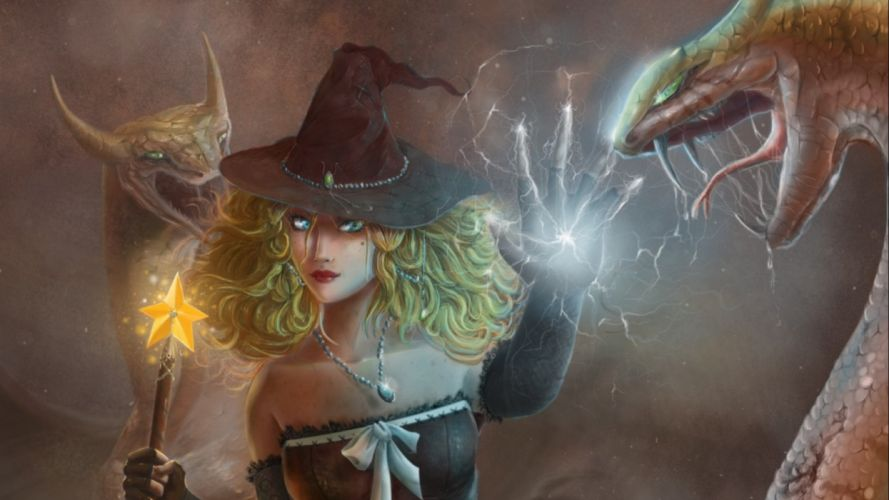 fantasy witch magic girl girls art artwork wallpaper