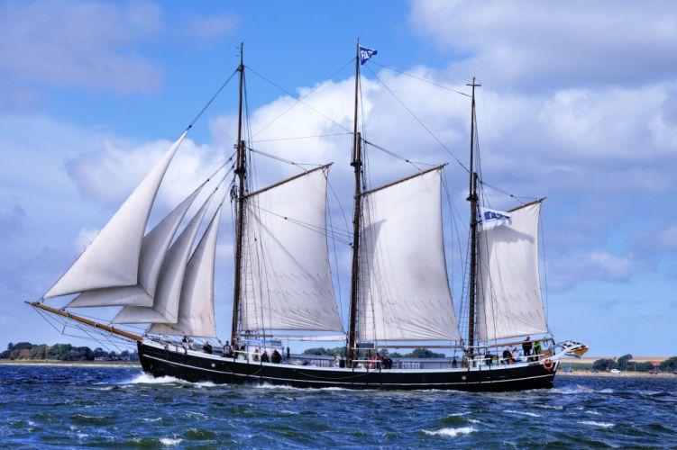 ship sea ocean trips travel sky clouds boats yacht beaches watercrafts wallpaper
