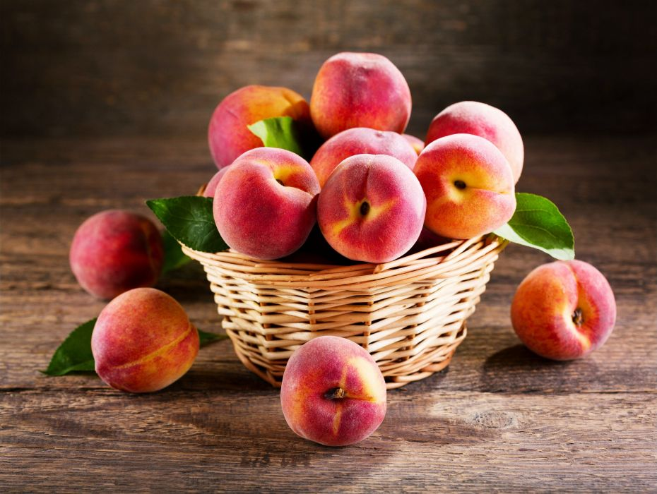 Peaches table delicious summer fruits fresh basket food wallpaper