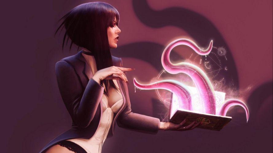 fantasy witch magic art artwork wallpaper