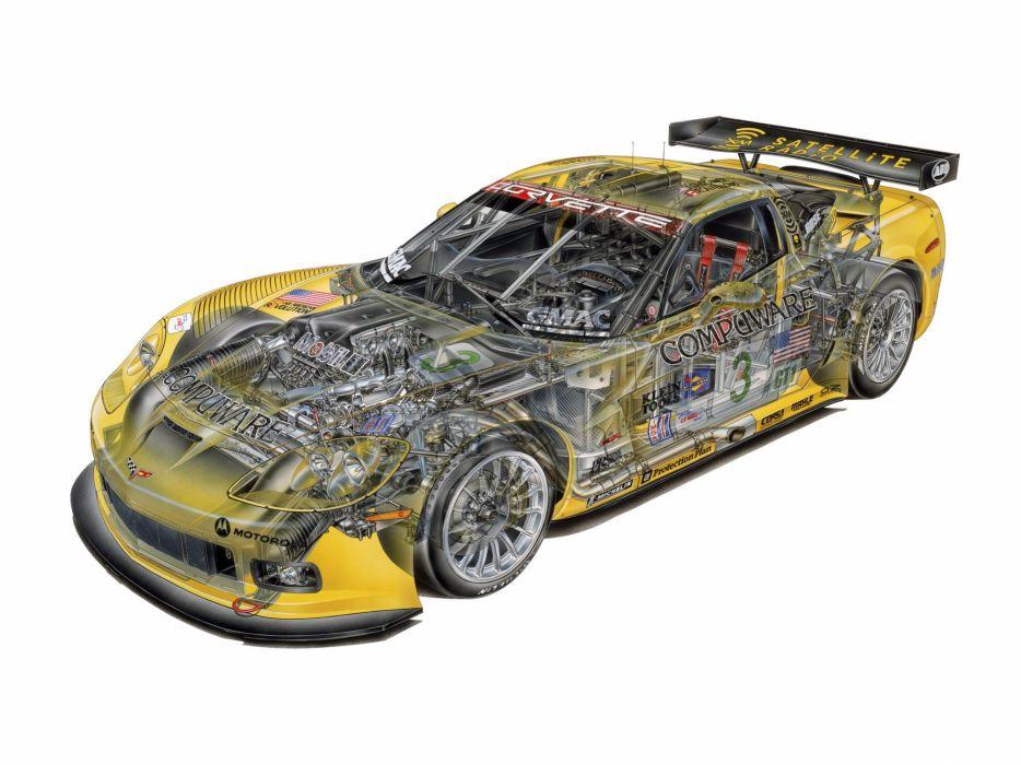 Corvette C6 R GT1 cars technical wallpaper