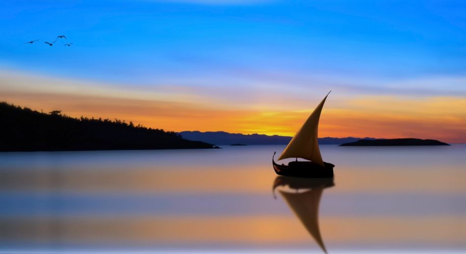 landscapes nature boats lakes sunset clouds sky art drawing wallpaper