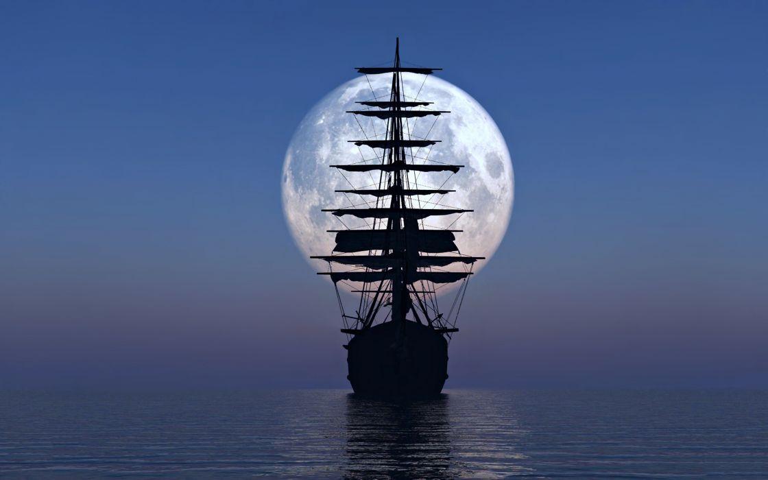 ship boat yacht watercraft moon sky sea ocean wallpaper