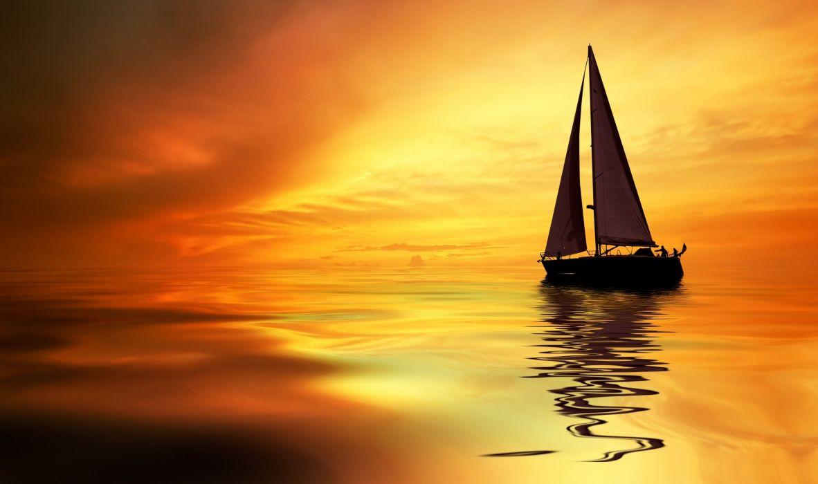 sea ocean boat yacht sky clouds sunset orange landscapes nature earth wallpaper