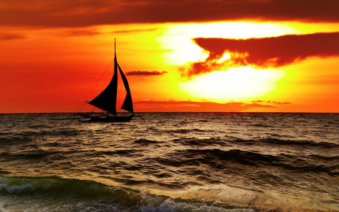 sea ocean boat yacht sky clouds sunset orange landscapes nature earth beaches wallpaper