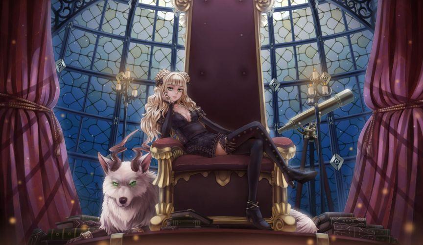 original anime girl blonde long hair night demon wallpaper