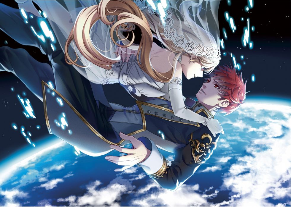original couple anime earth red hair blonde love space girl boy wallpaper