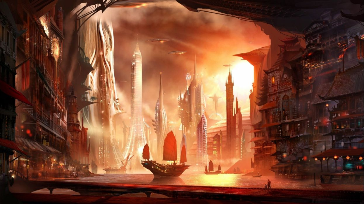 sci-fi city cities artwork art futuristic wallpaper