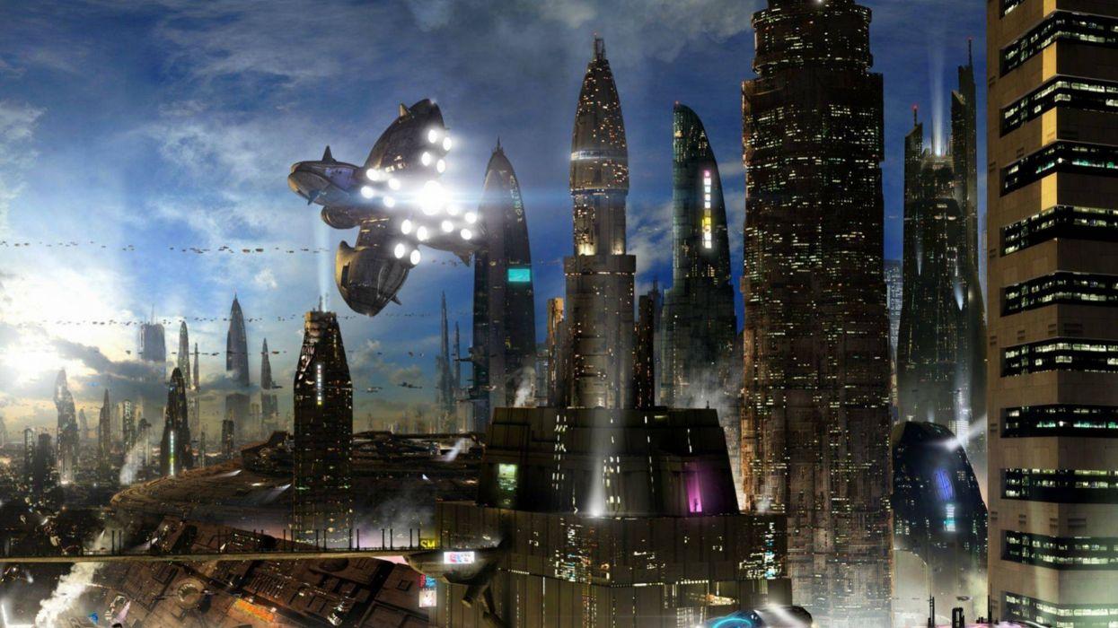 Sci Fi Wallpaper 2560x1440: Sci-fi City Cities Artwork Art Futuristic Wallpaper
