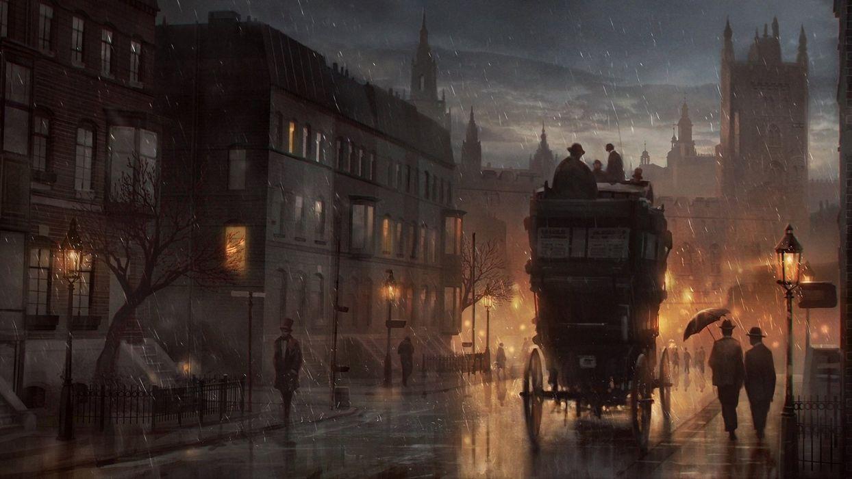 Painting London Rainy Old Wallpaper